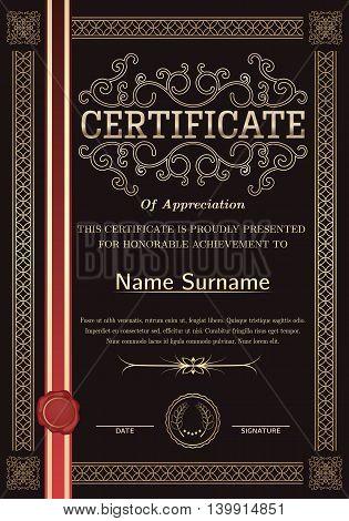 Premium elegant certificate template and frame. Vector.