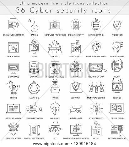 Vector Cyber security technology ultra modern outline line icons for web and apps