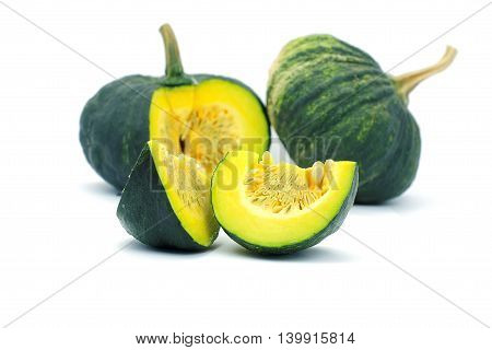 Group of small piece of green asian pumpkin on white background.