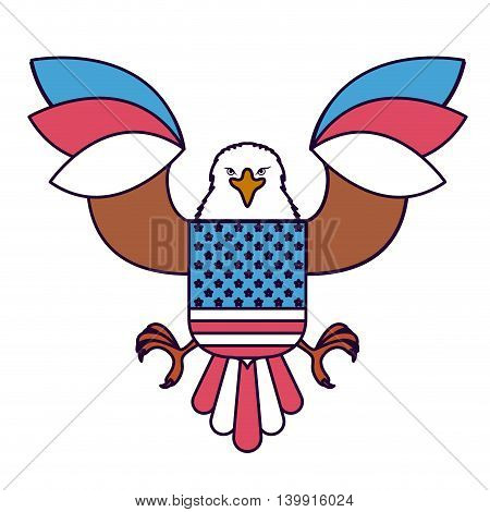 eagle with flag usa isolated icon design, vector illustration  graphic