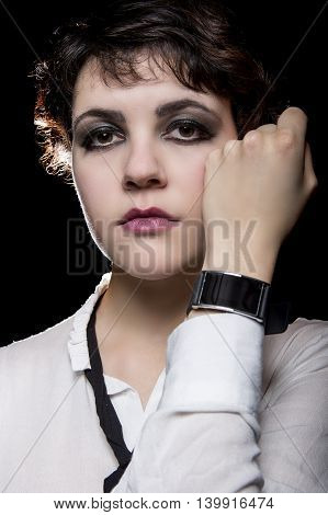 Modern digital smart watch wearable tech on a fashionable gothic female model