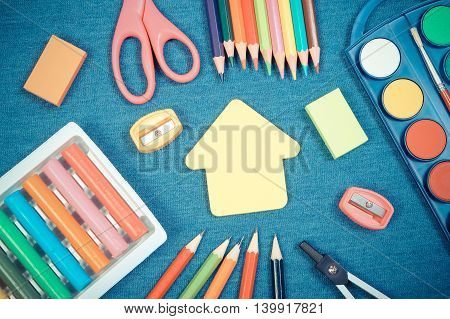 Vintage Photo, School Supplies And Shape Of Building On Jeans Background, Back To School Concept