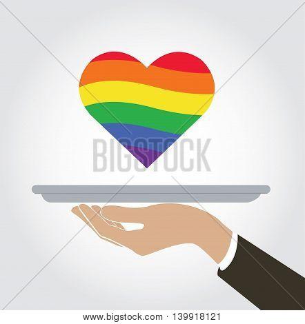 waiter serve a heart of love LGBT rainbow flag icon