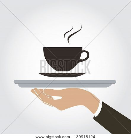 waiter serve coffee hot drink icon , dish up coffee vector