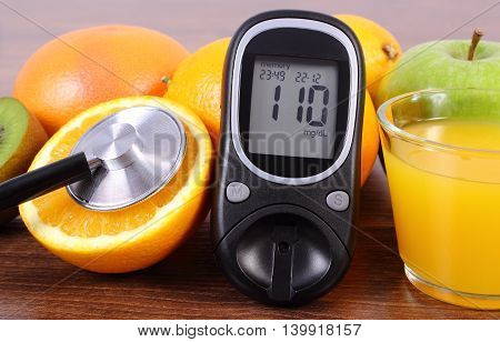 Glucometer, Stethoscope, Fruits And Juice, Diabetes, Healthy Lifestyles And Nutrition