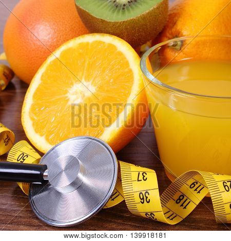 Stethoscope, Fresh Fruits, Juice And Centimeter, Healthy Lifestyles And Nutrition