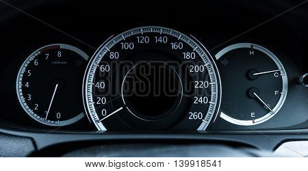 Speed meters dashboard of luxury modern car