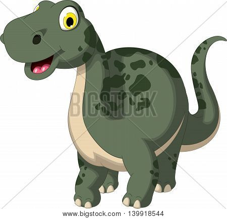 cute dinosaur cartoon posing for you design