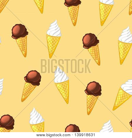 Chocolate and creamy ice cream cones on a beige background. Seamless pattern. Vector cartoon illustration.