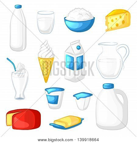 Set of milk and dairy products. Cartoon icons. Cheese, yogurt, sour cream, butter, ice cream, milkshake. Isolated objects on white background. Vector illustration.