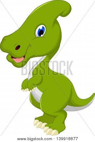 funny Dinosaur Parasaurolophus cartoon for you design