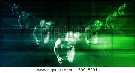 Fast Track Business with Technology and Teamwork 3D Illustration Render