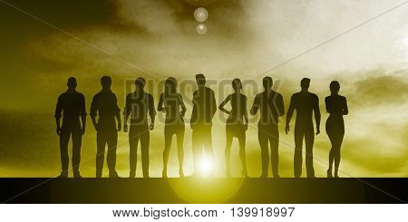 Silhouette of Business People on a Sunset Background as Abstract