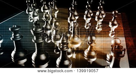 Business Strategy with a Chess Board Concept 3D Illustration Render