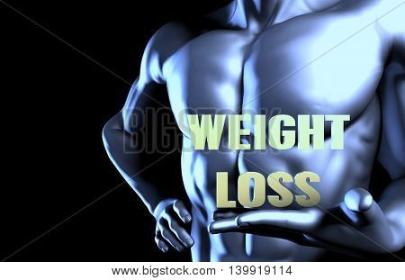 Weight Loss With a Business Man Holding Up as Concept 3D Illustration Render