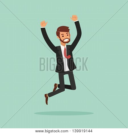 isolated happy business man jumping vector illustration