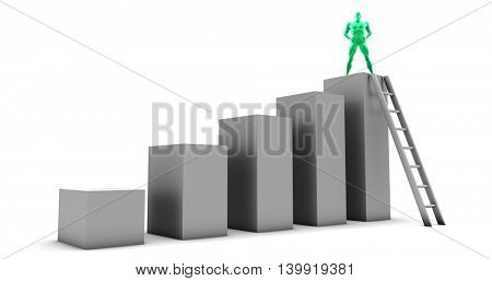 Business Growth and Growing Company Sales as Concept 3D Illustration Render
