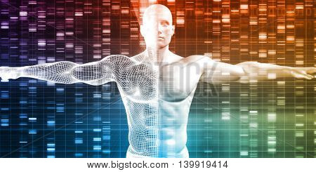 Genetic Research and Development with Science Data 3D Illustration Render