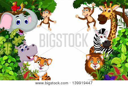 funny animal cartoon with tropical forest background