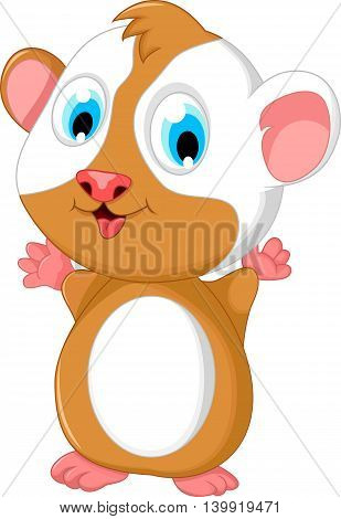happy fat hamster cartoon standing for you design