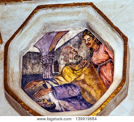 ATOTONILCO, MEXICO - DECEMBER 29, 2014 Saint Valentine Warming Hands Patron Saint Against Cancer Fresco Sanctuary of Jesus Atotonilco Mexico. Built in the 1700s known as the Sistene Chapel of Mexico with Frescoes of Jesus Stories. Frescoes by Miguel Anton