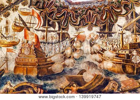 ATOTONILCO, MEXICO - DECEMBER 29, 2014 Spanish Sea Battle Fresco Sanctuary of Jesus Atotonilco Mexico. Built in the 1700s known as the Sistene Chapel of Mexico with Frescoes of Jesus Stories. Frescoes by Miguel Antonio Matinez between 1740 and 1775.