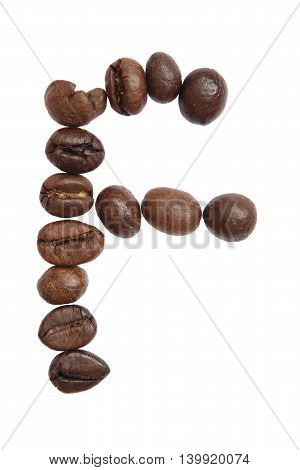 Isolated Alphabet; F Make From Coffee Bean On White Background