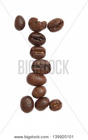 Isolated Alphabet; I Make From Coffee Bean On White Background