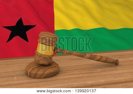 Bissau-guinean Law Concept - Flag Of Guinea-bissau Behind Judge's Gavel 3D Illustration