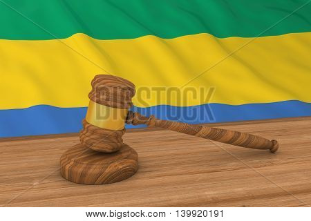 Gabonese Law Concept - Flag Of Gabon Behind Judge's Gavel 3D Illustration