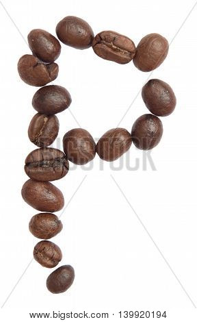 Isolated Alphabet; P Make From Coffee Bean On White Background