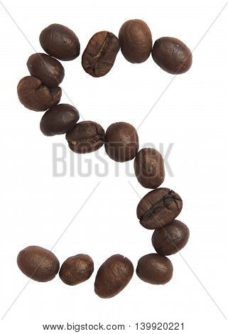 Isolated Alphabet; S Make From Coffee Bean On White Background