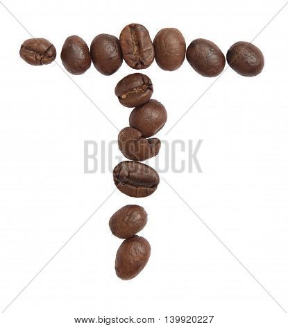 Isolated Alphabet; T Make From Coffee Bean On White Background