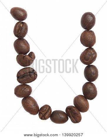 Isolated Alphabet; U Make From Coffee Bean On White Background