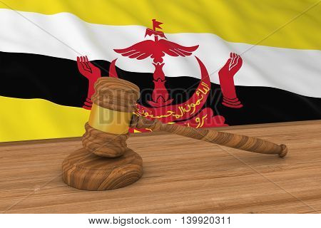 Bruneian Law Concept - Flag Of Brunei Behind Judge's Gavel 3D Illustration