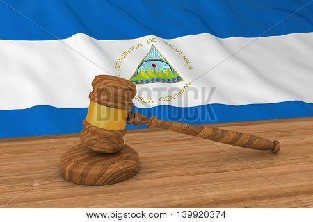 Nicaraguan Law Concept - Flag Of Nicaragua Behind Judge's Gavel 3D Illustration