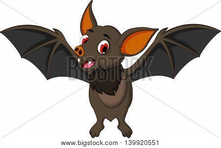funny bat cartoon posing stand look at camera