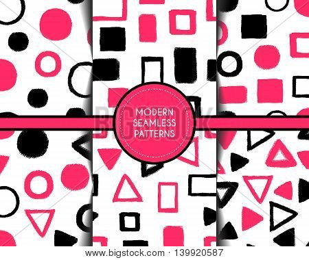 Abstract grunge seamless pattern. Vector illustration. Pink and black wallpaper on white background. Modern geometric grunge design