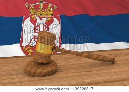 Serbian Law Concept - Flag Of Serbia Behind Judge's Gavel 3D Illustration
