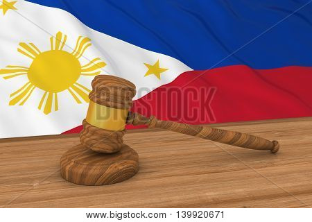 Filipino Law Concept - Flag Of Philippines Behind Judge's Gavel 3D Illustration