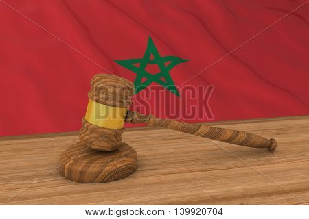Moroccan Law Concept - Flag Of Morocco Behind Judge's Gavel 3D Illustration