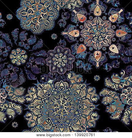 stylized flowers lace pattern on black background