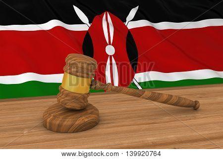Kenyan Law Concept - Flag Of Kenya Behind Judge's Gavel 3D Illustration