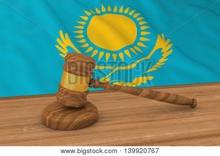 Kazakhstani Law Concept - Flag Of Kazakhstan Behind Judge's Gavel 3D Illustration