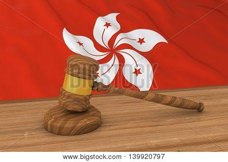 Hong Kongese Law Concept - Flag Of Hong Kong Behind Judge's Gavel 3D Illustration