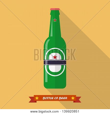 Beer bottle flat icon. Flat style with long shadow