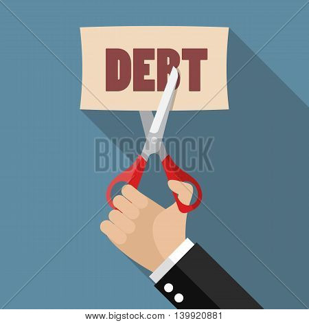 Hand cutting debt paper. Business concept vector illustration