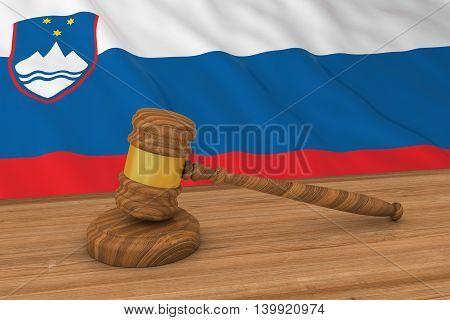 Slovenian Law Concept - Flag Of Slovenia Behind Judge's Gavel 3D Illustration