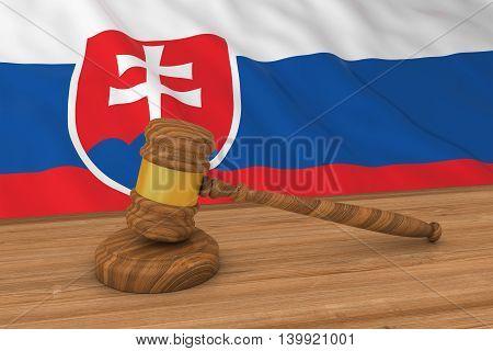 Slovakian Law Concept - Flag Of Slovakia Behind Judge's Gavel 3D Illustration