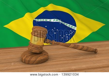Brazilian Law Concept - Flag Of Brazil Behind Judge's Gavel 3D Illustration